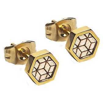 Boucles d'oreilles BeWooden Virie Hexagon - Or/Brun