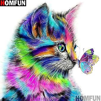 "Homfun Full Square/round Drill 5d Diy Diamond Painting ""cat Butterfly"" 3d"