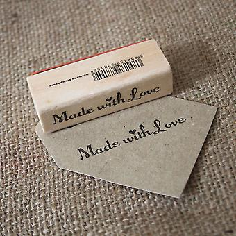 «Made With Love» en bois Rubber Stamp - Craft / Scrapbooking / fait main Tags