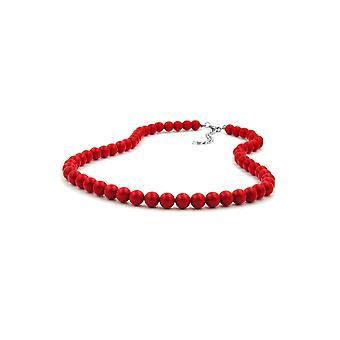 Halskjede Perler 8mm Rød Skinnende 55cm