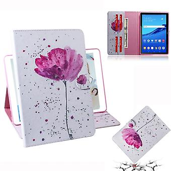 Purple Orchids Pattern Horizontal Flip PU Leather Case for Huawei MediaPad T5, with Holder & Card Slot & Wallet