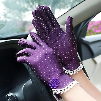 Cotton Summer Lace Patchwork Gloves, Anti-skid Sun Protection Driving Short