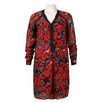 Detalhe do botão de manga comprida detalhe floral chiffon camisa vestido