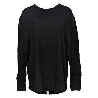 All Worthy Hunter McGrady Women's Top Long Sleeve Relaxed Tee Black A384588