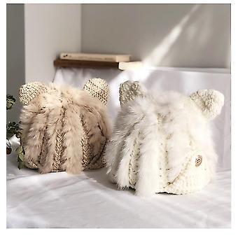 Cute Rabbit Fur Hat, Autumn & Winter Cat Ears Protector Korean Warm Thick Knit
