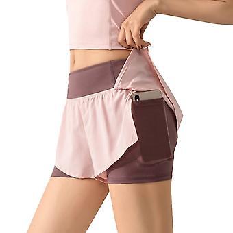 Korkea vyötärö Biker Naisten Fitness Anti Exposure Tennis Hame /Shortsit