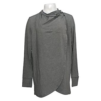 Cuddl Duds Women's Sweater Brushed Knit Cascade Wrap Gray A381700