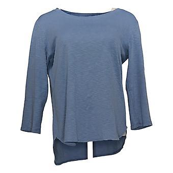 Gloria Vanderbilt Women's 3/4 length sleeve Slub Tee Blue