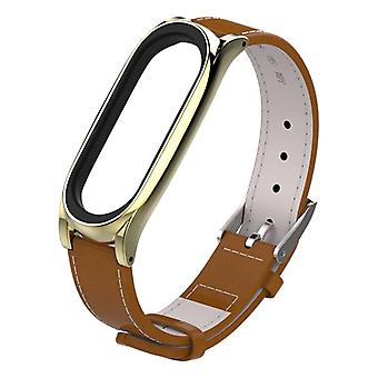 米乔布斯顶级谷物皮革表带为小米米乐队 3 +4 腕带无螺丝磁手镯智能带更换配件,主机不包括