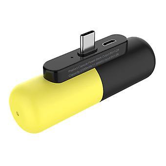 Stuff Certified® Mini Power Bank 3300mAh pour USB-C - Externe Chargeur de batterie d'urgence Jaune