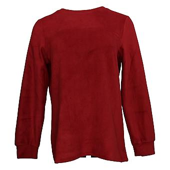 Cuddl Duds Women's Sweater Fleecewear Stretch Crew Hals Rood A381759