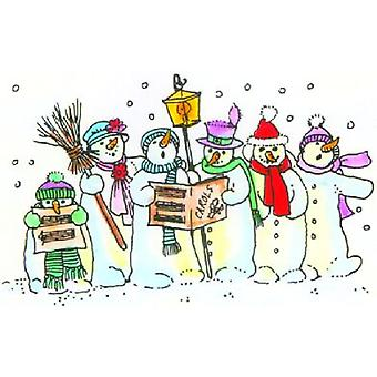 Snowman Choir Wood Mounted Stamp