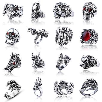 16pcs Punk Ring Set Cool Geometry Alloy Finger Ring For Man
