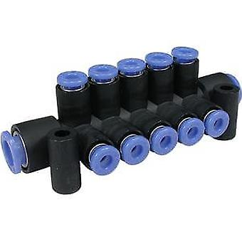 SMC 6 orifices de sortie Pbt pneumatique collecteur Tube à Tube raccord, poussoir en 6 Mm