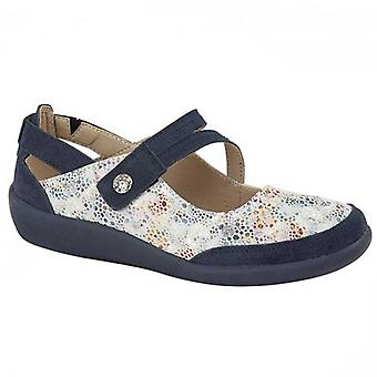 Boulevard L388c Ladies Leather Mary Jane Shoes Navy