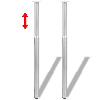 2 x Telescopic Foot Support Foot Table Leg Brushed 710mm-1100mm