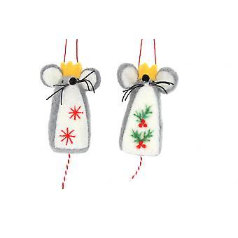 Gisela Graham Pair of Wool Mice Decorations