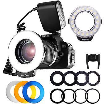 RF-600D 18 SMD LED Makro Blitzlicht Ringblitzleuchte fr Nikon Canon Kamera DSLR mit LCD Display
