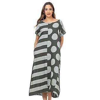 Lange Oversize linnen stippen en strepen jurk