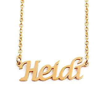 """L Heidi - 18-carat Gold Plated Necklace, with Customizable Name, 16""""- 19 Adjustable Chain"""