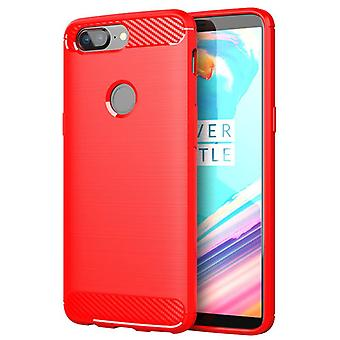 Tpu carbon fibre case for oneplus 5t red mfkj-251