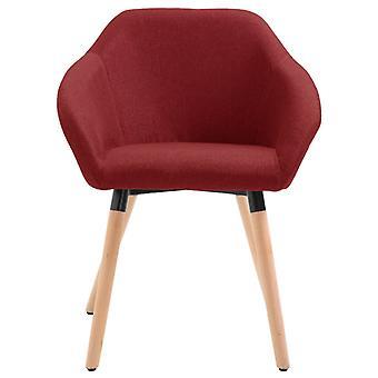 vidaXL silla de comedor tela roja de vino