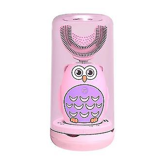 الوردي الاطفال فرشاة الأسنان الكهربائية الذكية الموقت بالموجات فوق الصوتية 2 في 1 ش على شكل رأس فرشاة وفرشاة اللسان cai1543