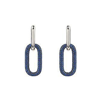 Boucles d'oreilles Chain Link Sapphire Bleu Argent