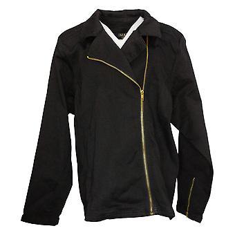 IMAN Global Chic Women's Jacket Plus Collared Denim Black 735583