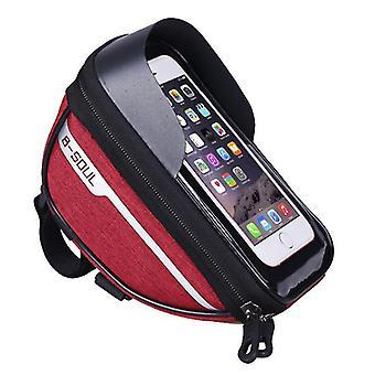 Fahrrad wasserdichte Telefontasche, Touchscreen-Bedienung, Kopfhörer Brieftasche Aufbewahrungstasche (Rot)