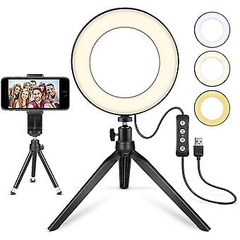 """Led Ring Light 6"""" With Tripod Stand , Mini Led Camera Light With Cell Phone Holder Desktop Led Lamp"""