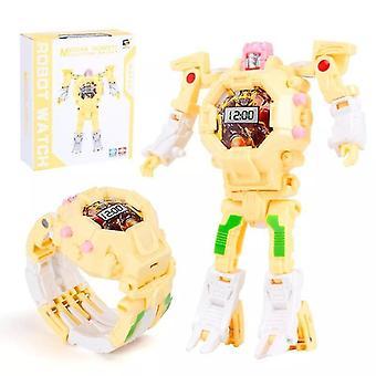 Electronic Transform Robot Watch(Light Yellow)