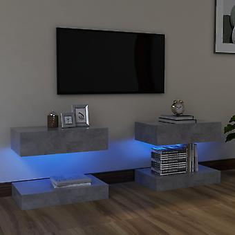 vidaXL TV-kaapit LED-valoilla 2 kpl betonia harmaa 60x35 cm