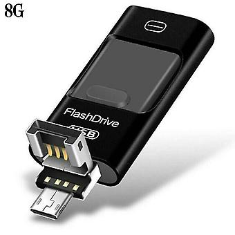 (Sort 8G) 8-128 GB USB i Flash Drive Stick Disk Storage Memory til iPhone PC Android IOS