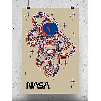 Astronaut And Stars Poster - NASA Designs