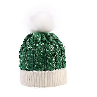 Kids Baby Toddler Cable Knit Children's Pom Winter Hat Beanie(GREEN WHITE)