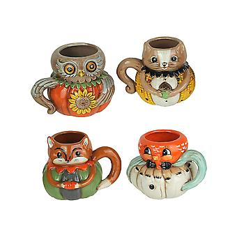 Johanna Parker Harvest Critters Set of 4 Ceramic Autumn Mugs Vintage Style Fall Holiday Coffee Cups