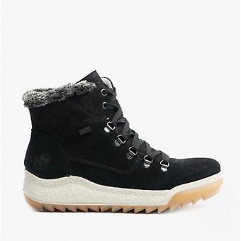 Rieker Y4733 Ladies Suede Water Resistant Ankle Boots Black