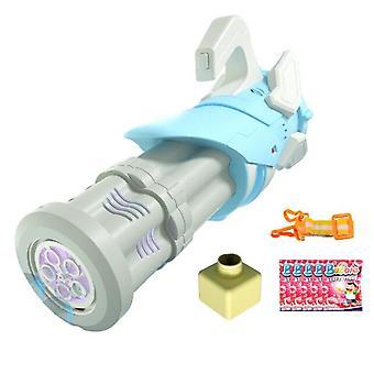 Kinderblase Maschine Blasengebläse Spielzeug Automatische Gatling Bubble Gun Spielzeug mit Musik (Blau)