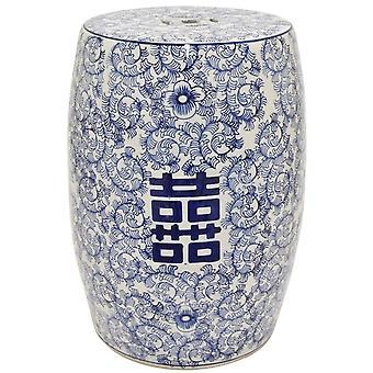 Fin AsiatiskLiving Keramisk Hage Krakk Blå Hvit Dobbel Lykke D33xH45cm