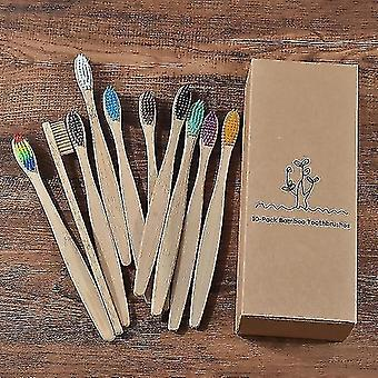 Toothbrushes 10 pieces set of scandinavian style ecofriendly bamboo toothbrush set 10 piece color mix