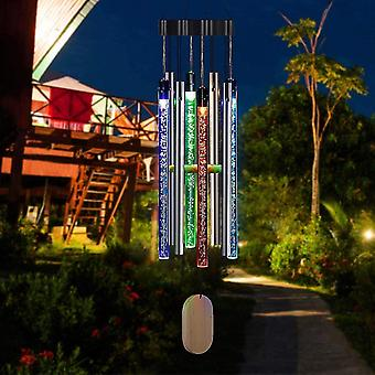 Landscape pathway lighting olour changing hanging spiral spinner solar powered led wind chime light