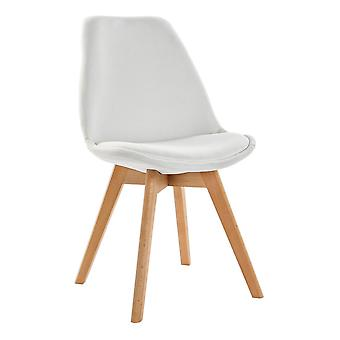 Chair DKD Home Decor White Polyester beech wood (48 x 55 x 82 cm)