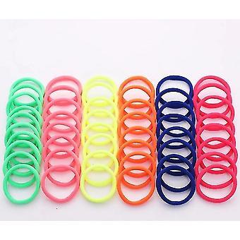 50 Stykker diverse sæt af 4cm farverige nylon elastiske hårbånd til alle hårtyper (Bright)