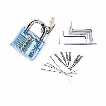 Slotenmaker gereedschap kit 3 in 1 set blauw transparant slot, 5 stuks slotenmaker moersleutel gereedschap, 10pcs slotenmaker