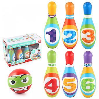 مجموعة البولينج للأطفال، لعب الأطفال 10 الملونة المطبوعة الرقمية دبابيس الرغوة الناعمة، 1 البولينج في الهواء الطلق لعبة التنمية هدية رياضية