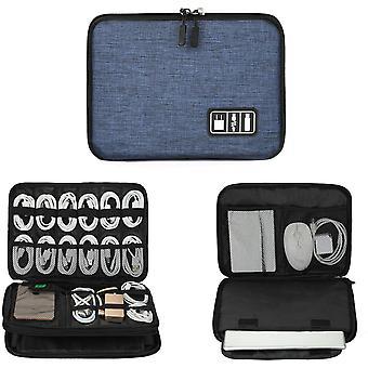 Szervező,elektronikus kiegészítők kábel szervező táska vízálló 11'') (fekete-kék)