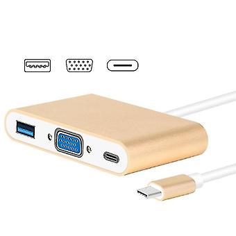 Usb Type C Vers Vga 3-en-1 Hub Adapter prend en charge usb Type C Tablettes et ordinateurs portables pour Macbook Pro / Google Chromebook