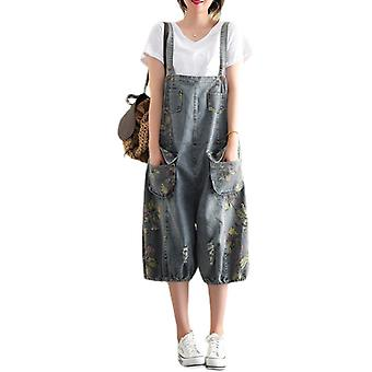 Woman Plus Size Overalls Printed Demin Pants