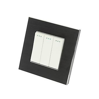 Yo LumoS lujo aluminio cepillado negro marco 3 cuadrilla 2 camino rockero Switche de luz de pared